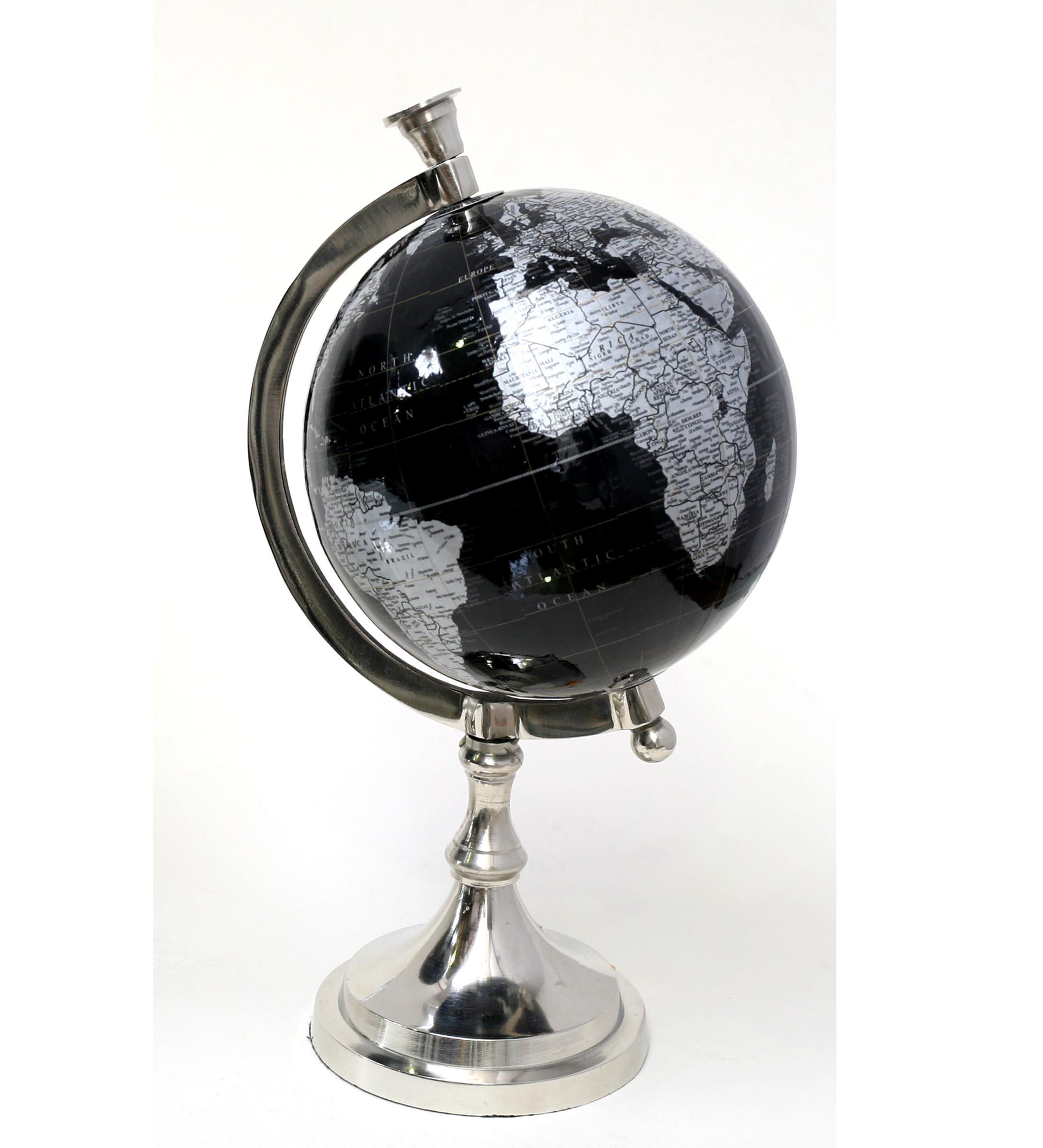 Bola del mundo plat neg 18x32x16 cms conchi decoraci n - Bola del mundo decoracion ...