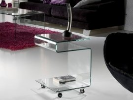 Mesa Aux. Glass Transparente 38x54x42